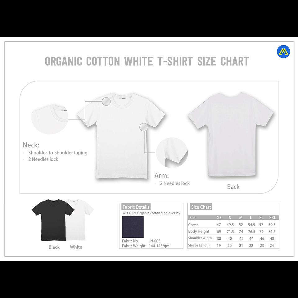 organic white t-shirt size chart