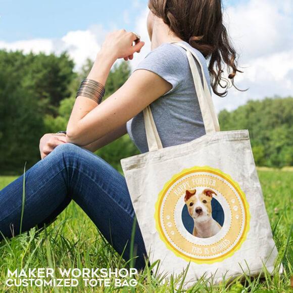 maker workshop customized tote bag