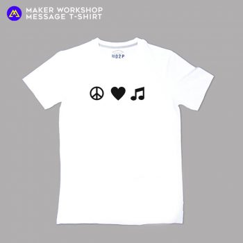 PEACE LOVE MUSIC Message T-Shirt