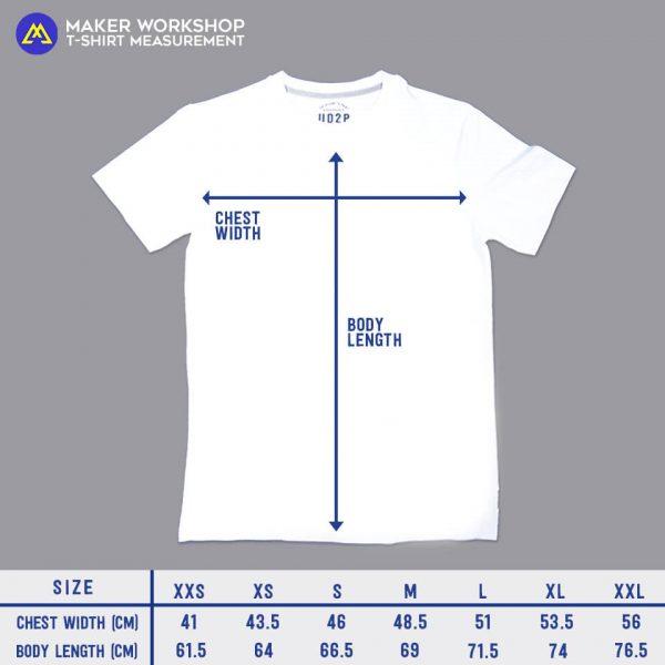 maker workshop tee size chart