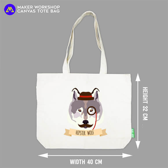 Hipster Wolf Canvas Tote Bag