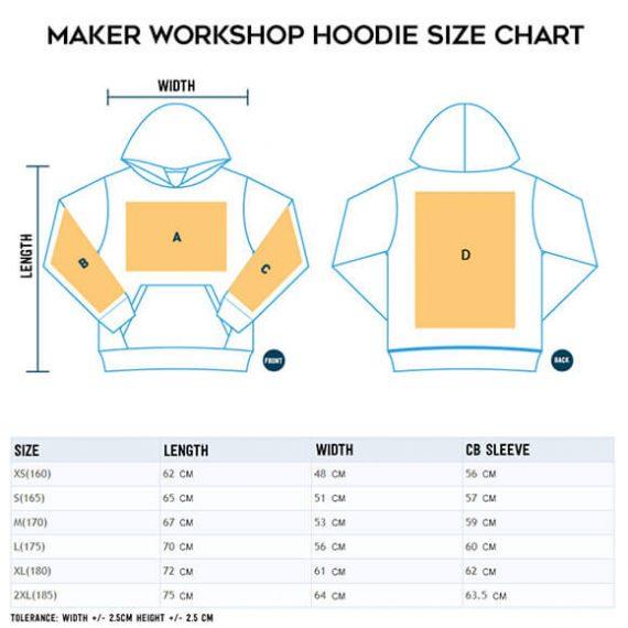 custom sweatshirt size chart