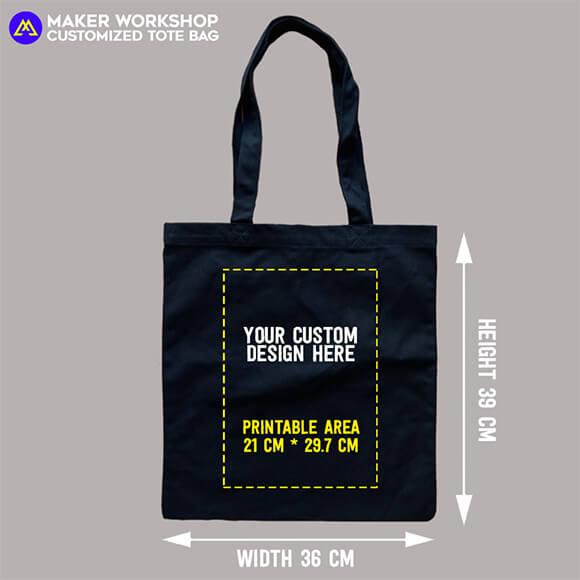 customized black tote bag heat transfer printing