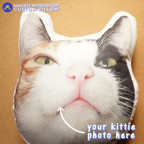 custom shaped photo pillow kittie